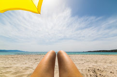 Sun tanning in Le Bombarde Stock Image