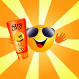 Sun with tanning lotion. Illustration of a sun with sun lotion for tanning Royalty Free Stock Photos