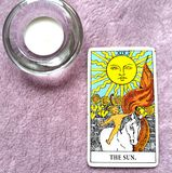 The Sun Tarot Card Life energy vitality joy enlightenment warmth manifestation happiness. The Sun Tarot Card brings life energy vitality joy enlightenment warmth royalty free stock image