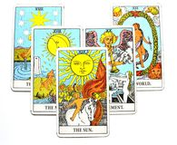 The Sun Tarot Card Life energy vitality joy enlightenment warmth manifestation happiness. The Sun Tarot Card brings life energy vitality joy enlightenment warmth Royalty Free Stock Photography