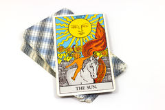 The Sun, Tarot cards on white background. Royalty Free Stock Photo