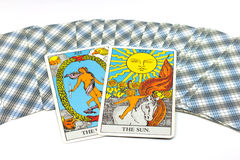 The Sun, Tarot cards on white background. Royalty Free Stock Photography