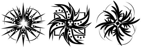 Set of Sun tattoos in black. Illustration that represents some examples of decorated suns usable for tattoos or logos Royalty Free Stock Photography