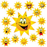 Sun tecknad film med roliga framsidor Royaltyfria Foton