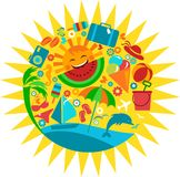 Sun with template of summer icons. Illustration Stock Photography