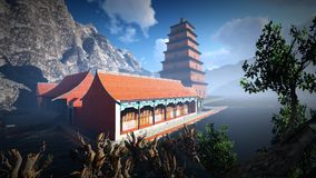 Sun temple - Buddhist shrine in the Himalayas 3d rendering Royalty Free Stock Photos