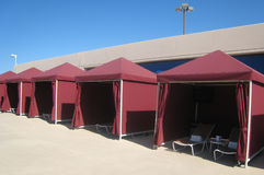 Sun tents. Nice , sun beds, blue sky and sunny weather, swimming pool and sun bathing, Las Vegas Stock Image