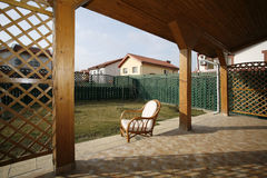 Sun terrace. Relaxing sun terrace / patio with garden loungers Stock Images