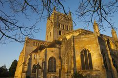 Sun on Tewkesbury Abby Stock Photos