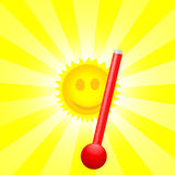 Sun and thermometer Royalty Free Stock Photography