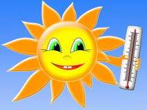 The sun with thermometer. On the background of blue sky Stock Photo