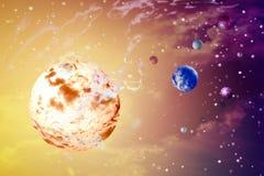 Sun, tierra, planetas en espacios exteriores Fotografía de archivo libre de regalías