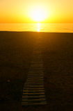 Summer seascape on sunset. The sun to set over the horizon reflected in the sea Stock Images