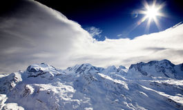 Sun on the top of the Matterhorn mountain Royalty Free Stock Images