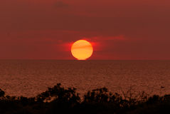 The sun touching horizon line Stock Image