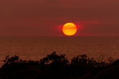 The sun touching horizon line Stock Image