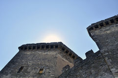 In the sun tower the battlements of Genoese fortress in the Crimea Peninsula Russia Royalty Free Stock Images