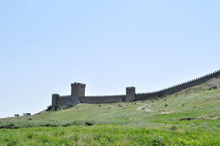 In the sun tower the battlements of Genoese fortress in the Crimea Peninsula Russia Royalty Free Stock Photo