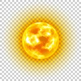 Sun, transparent background, heavenly body, cartoon, realistic. Star in center of solar system for illustrators. Vector illustration of celestial luminary Royalty Free Stock Images
