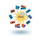 Sun and travel documents. Journeys logo template. Sun and travel documents Stock Images