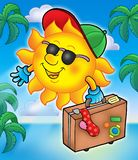 Sun traveller with palms. Color illustration royalty free illustration