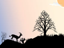 Sun,tree and antelope. Tree and antelope silhouette Stock Photos