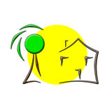 Sun tree house logo Royalty Free Stock Photos