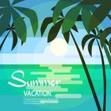 Sun tropicale della palma dell'isola di paradiso Fotografia Stock