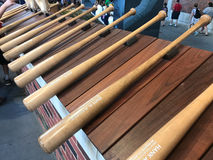 Sun Trust Park. A row of wooden bats with the names of former Atlanta Braves greats is displayed at new Sun Trust Park in Atlanta, GA Stock Photo