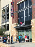 Sun Trust Park Ticket office on a game day. Atlanta Braves fans gather outside the ticket office of Sun Trust Park in Atlanta, GA Royalty Free Stock Photo