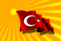 Sun and turkey flag stock photography