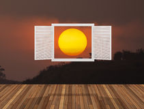 Sun at twilight behind the opening  window. 3D  render Stock Photography
