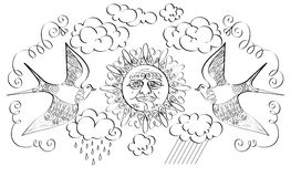 The sun and two birds. Calligraphical drawing of the sun, two birds, олаков, a rain and curlicues Stock Images