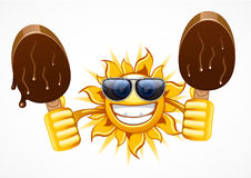 Sun with two ice creams. On white background Stock Illustration