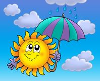 Sun with umbrela on cloudy sky. Sun with umbrella on cloudy sky - color illustration Royalty Free Stock Image