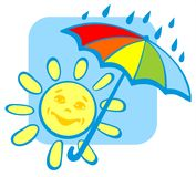 Sun with umbrella Stock Image