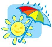 Sun with umbrella Stock Image