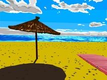 Sun umbrella. Beautiful  illustration. Beach and sky Royalty Free Stock Images