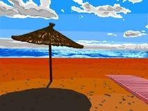 Sun umbrella. Beautiful vector illustration. Beach and sky Stock Photo