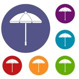 Sun umbrella icons set. In flat circle reb, blue and green color for web Stock Image