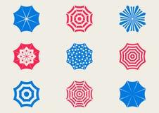 Sun umbrella icons. Set of various colorful sun umbrella icons Royalty Free Stock Photos