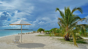 Sun umbrella and palm tree at the ocean. Sun umbrella, white sand and palm tree at the ocean on the Maldives Stock Photography