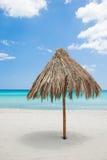 Sun umbrella of reeds on the beach Stock Image