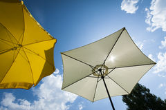Sun umbrella at wonderful summer day with blue sky Royalty Free Stock Photography