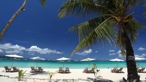 Sun umbrellas and beach chairs on coastline with white sand. Boracay stock video