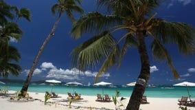 Sun umbrellas and beach chairs on coastline with white sand. Boracay stock video footage