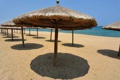Sun umbrellas on the beach Stock Photo