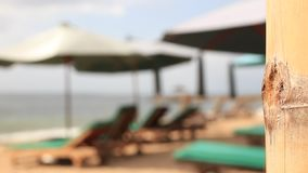 Sun umbrellas and chaise longues on a tropical exotic Bali beach, Indonesia. Blurred background. Sun umbrellas and chaise longues on a tropical exotic Bali stock video footage
