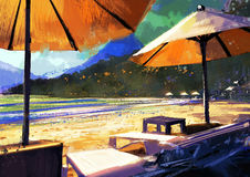 Sun umbrellas and loungers on beach. Colorful painting of sun umbrellas and loungers on beach Stock Photos