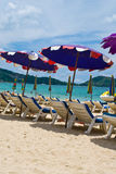 Sun umbrellas at the Patong beach Stock Photography